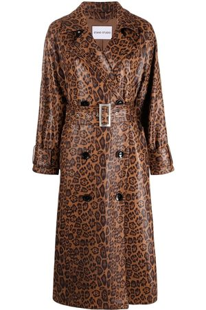 Stand Studio Women Trench Coats - Shiny leopard print Shelby trench coat