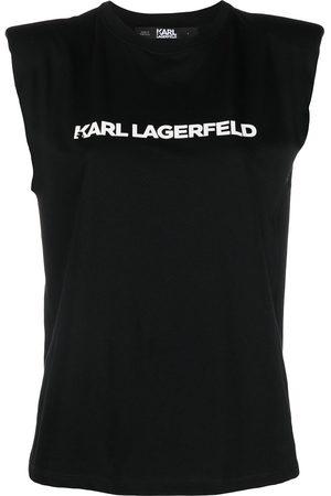 Karl Lagerfeld Women Tank Tops - Logo-printed shoulder-pad tank top
