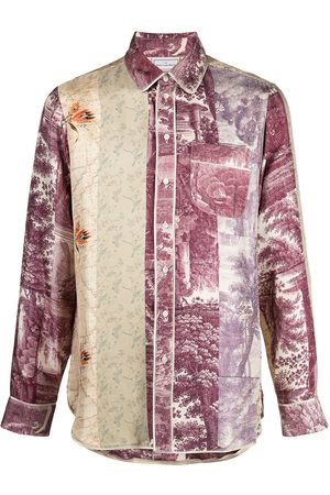 PIERRE-LOUIS MASCIA Mixed-print silk shirt