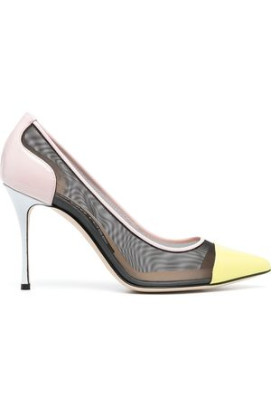 Sergio Rossi Women Pumps - Leather and mesh detail stiletto pumps