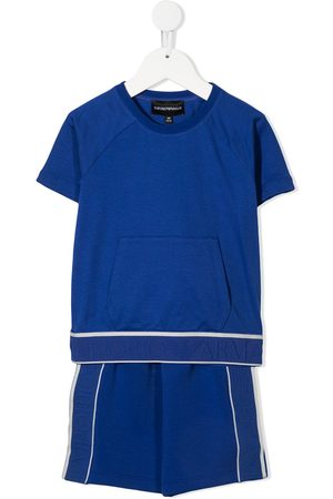 Emporio Armani Boys Sets - Logo tape cotton T-shirt shorts set