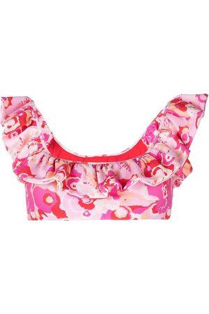La DoubleJ Floral ruffle bikini top