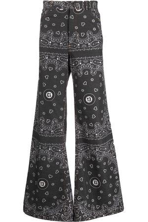 DUOltd Bandana-print wide-leg jeans
