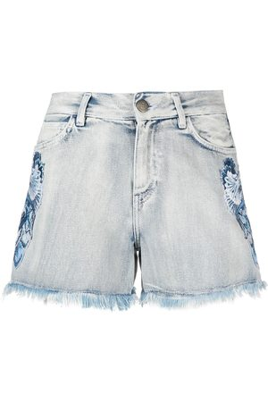 Twin-Set Floral embroidery denim shorts