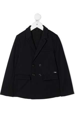 Emporio Armani Girls Blazers - Logo-embroidered double-breasted blazer