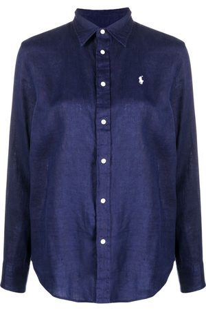 Polo Ralph Lauren Women Polo Shirts - Polo Pony embroidered logo linen shirt