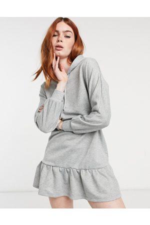 New Look Ruffle hem hooded sweat dress in marl