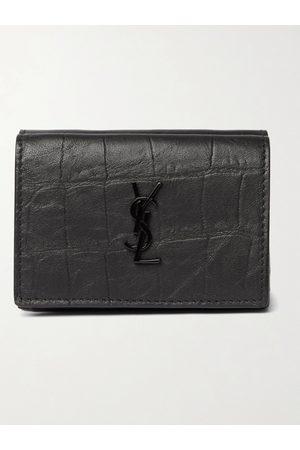 adidas Men Wallets - Logo-Appliquéd Croc-Effect Leather Trifold Wallet