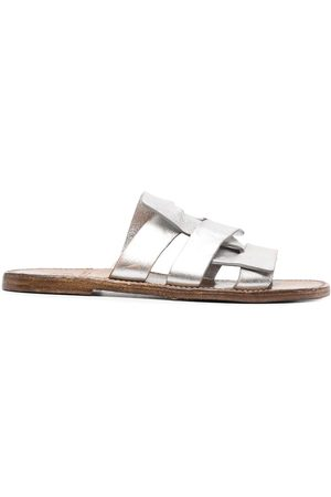 adidas Women Platform Sandals - Metallic-sheen leather sandals