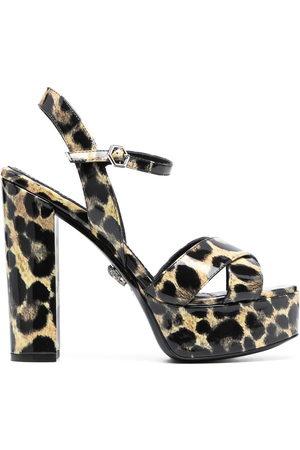 adidas Patent platform leopard print sandals