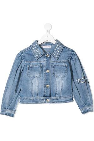 MONNALISA Embroidered Daisy denim jacket