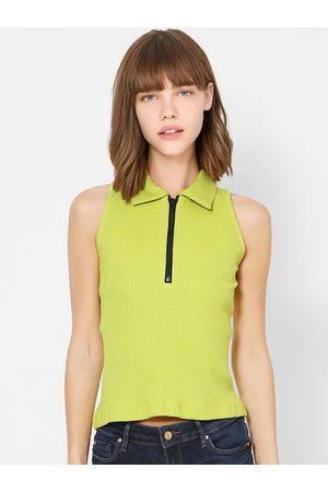 adidas Women Green Solid Polo Collar T-shirt