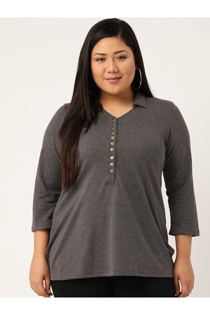 Revolution Women Plus Size Grey Melange Solid Polo Collar T-shirt