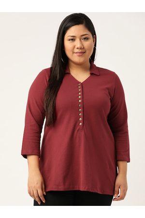 Revolution Women Plus Size Maroon Solid Polo Collar T-shirt