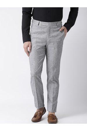 adidas Men Grey Regular Fit Self Design Formal Trousers