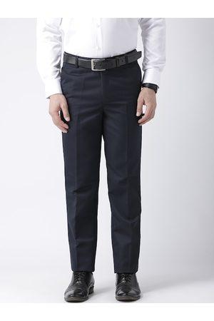 adidas Men Navy Blue Regular Fit Solid Formal Trousers
