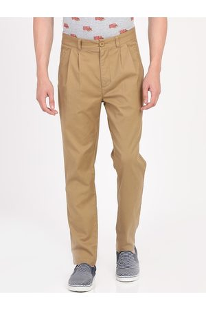 adidas Men Khaki Slim Fit Solid Regular Trousers