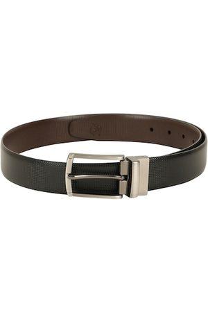 ZEVORA Men Black & Brown Textured Reversible Belt