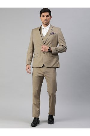 adidas Men Beige Body Tailored Fit Self-Design 3-Piece Formal Suit