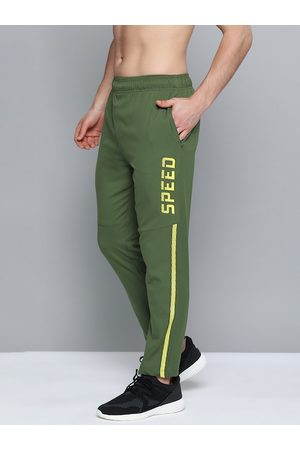 adidas Men Green Solid Rapid-Dry Running Track Pants
