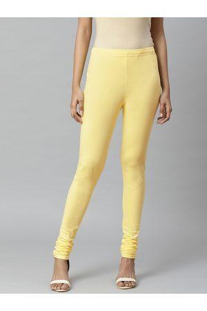Rangriti Women Yellow Knitted Solid Pure Cotton Churidar