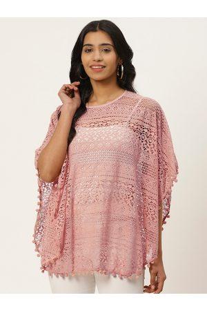 adidas Women Pink Self Design Lace Sheer Poncho Top