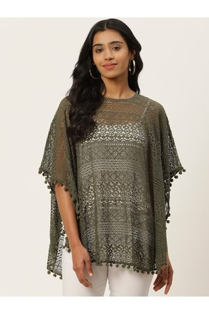 adidas Women Olive Green Self Design Lace Sheer Poncho Top
