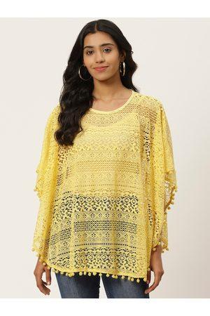 adidas Women Yellow Self Design Lace Sheer Poncho Top