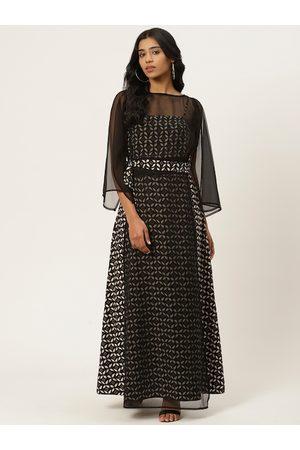 adidas Women Black & White Layered Print Maxi Dress
