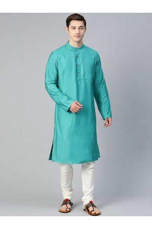 adidas Men Blue Solid Slim Fit Straight Kurta