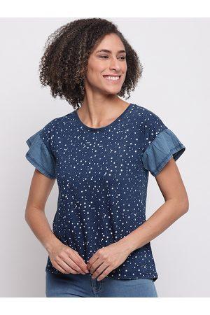 adidas Women Blue Printed Round Neck T-shirt