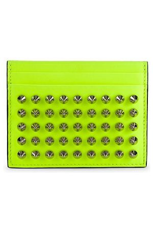 Christian Louboutin Studded Neon Leather Card Holder