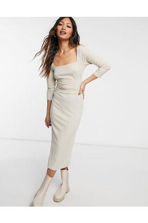 River Island Women Casual Dresses - Square neck tie waist midi dress in