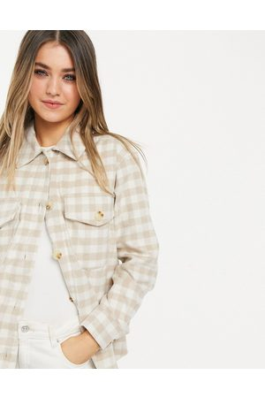 New Look Women Coats - Cosy shacket in check