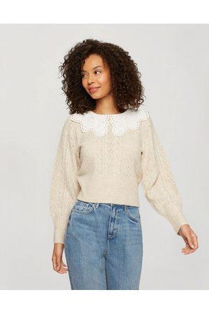 Miss Selfridge Oversized collar jumper in cream