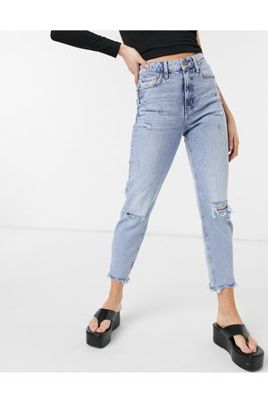 River Island Carrie mom ripped jeans in light authentic
