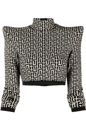 Balmain Women Crop Tops - PB monogram cropped top