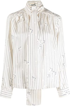 Hermès Pre-owned striped pussybow blouse