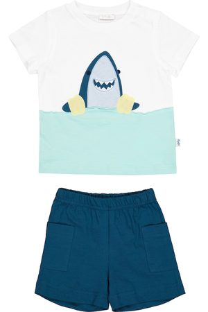 Il gufo Baby cotton jersey T-shirt and shorts set