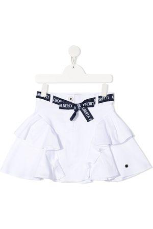 Alberta Ferretti Ruffle-trim belted skirt