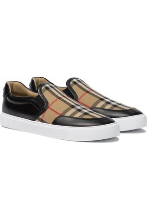 Burberry Women Sneakers - Vintage Check leather and canvas sneakers