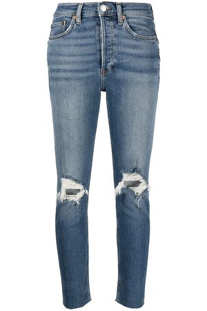 RE/DONE Ripped cropped slim-fit jeans