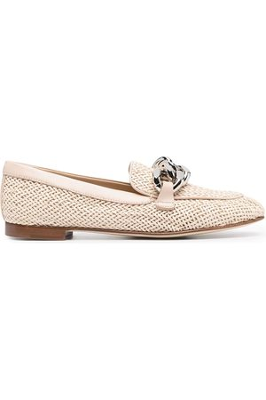Casadei Woven chain-detail loafers