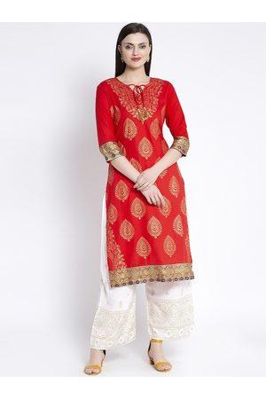 Anaisa Women Red Woven Design Straight Kurta