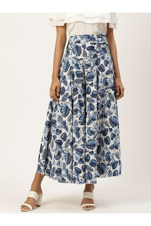 Trend Arrest Women White & Blue Floral Print Flared Palazzos