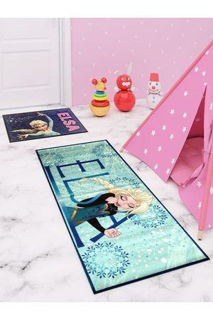 Disney Set Of 2 Blue & Pink Elsa Print Premium Runner Carpet & Doormat