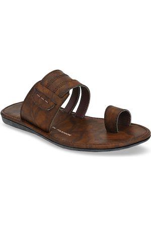 Azzaro Men Camel Brown Striped Slip-On