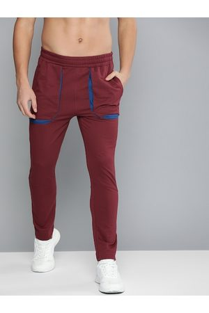 HRX Men Maroon Track Pants