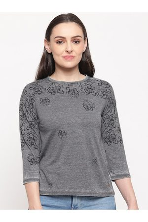 Pepe Jeans Women Grey Printed Round Neck T-shirt