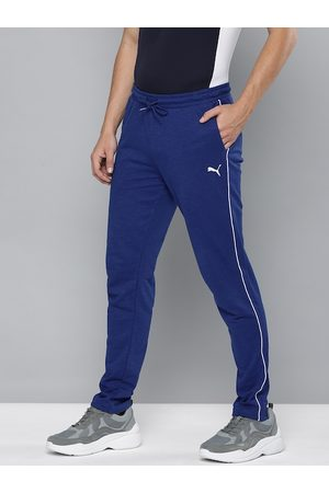 PUMA Men Blue Slim Fit Solid Slub Sweat Pants